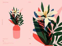 Flower Vase - Graphic Design & Illustration - Art World Art And Illustration, Floral Illustrations, Graphic Design Illustration, Flower Vase Design, Flower Vases, Flower Graphic Design, Graphisches Design, Hand Flowers, Cut Flowers