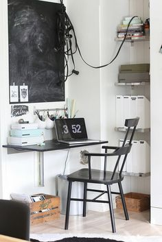 "My ""office"". A tiny office space created in my kitchen. www.anmagritt.no #hay #granit #Ikea"