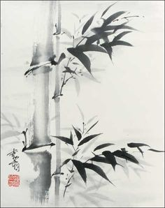 making a composition w/just bamboo; looks like 3 brushes tho so maybe not easiest for quick cards Japanese Ink Painting, Sumi E Painting, Japanese Drawings, Japan Painting, China Painting, Japanese Watercolor, Bamboo Art, Bamboo Drawing, Art Chinois