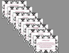 Bridal Shower Wine Basket Poem Tag PRINTABLE-Black Damask via Etsy