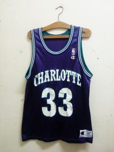 "Sale Rare !! Vintage NBA Basketball Charlotte Hornet Pro - Player Alonzo Harding Mourning, Jr ""Zo"" (33) by Champion Unisex Sz 44 by Psychovault on Etsy"