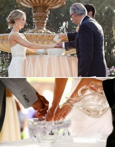 The hand washing ceremony. Pick a pretty basin, a pitcher or cup, and have the officiant pour water on the couple's hands to symbolize their purification as the bride and groom wash away their past wrongdoings and cleanse each other from their faults. From that point on, they have a fresh clean slate to begin their journey as husband and wife.