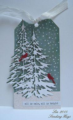 Lin, Sending Hugs:  Tim Holtz Woodland Tree die; Simon Says Stamp Falling Snow stencil