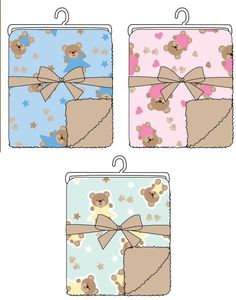 Baby Sherpa Blankets with Teddy Bear Embroidery - 36 Units