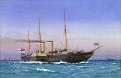 Tonnage: Length: 250 ft m). Beam: 36 ft m). Painting Signed by W Fred Mitchell. Motor Yachts, Steamers, Imperial Russia, Royal Navy, Water Crafts, Old World, Sailing Ships, Nautical, Steampunk