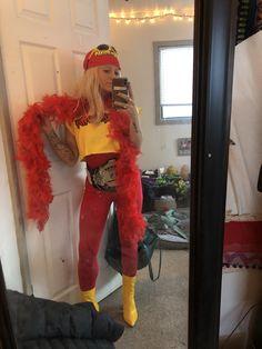 Hulk hogan costume for women Hulk Hogan Halloween Costume, Cute Couple Halloween Costumes, Halloween Party, Halloween 2020, Halloween Ideas, Happy Halloween, Wwe Costumes, Wrestling Costumes, Macho Man Costume