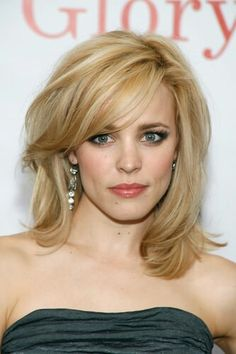 Shoulder length with long layers and side swept bangs.. rachel mcadams