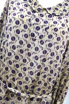 b9118822737c Vintage 1920s Day Dress Silk Art Deco Print Purple Gray S Depression Era