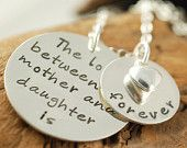 Hand Stamped Necklace, Mother & Daughter Jewelry, Personalized Jewelry, Mommy Necklace