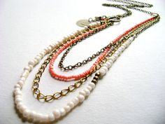 beautiful soft colors, paech and ivory with golden and bronze .. #bohemian style #boho jewelry