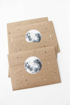 Glowing Full Moon Stary Night Cosmic Galaxy Astrology Celestial Space Snailmail Mailart Circle Stickers & Kraft Envelopes - Mirelly Lima - Space Everything Mail Art Envelopes, Kraft Envelopes, Handmade Envelopes, Full Moon Party, Pen Pal Letters, Diy And Crafts, Paper Crafts, Moon Wedding, Envelope Art