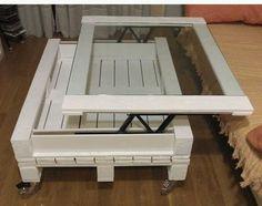 Table basse relevable bois chantourn et d coup - Acheter table basse palette ...