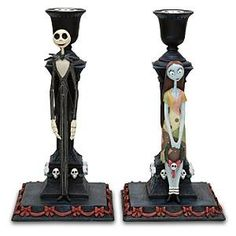 Jack and Sally Nightmare Before Christmas Candle Holders Nightmare Before Christmas Wedding, Jack The Pumpkin King, Christmas Candle Holders, Gothic, Jack And Sally, Decoration Design, Fall Halloween, Halloween Stuff, Halloween Signs