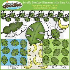 Scruffy Monkey Elements Clip Art with Line Art