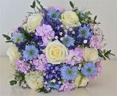 country handtied brial bouquet purple, blue,cream,mauve