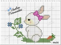Crochet Baby Mobiles, Cute Cross Stitch, Cute Bunny, Easter Crafts, Cross Stitching, Easter Bunny, Adult Coloring, Hello Kitty, Diy And Crafts