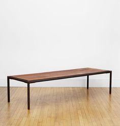 $1800 Salvage+Rebar+Coffee+Table++Vintage+Bridge+Rebar+Base+with+Black+Walnut+Top