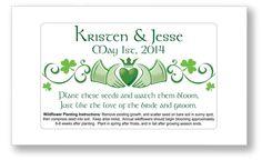 50 - Irish Wildflower Wedding Seed Packet Favors - Customized Personalized