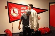 Jon Jay and Mike Matheny after Jon Jay cleared his locker out at the end of the Cardinals' season