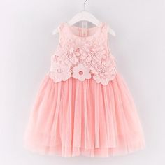 Princess Dresses Pink Sleeveless Appliques Design Voile Dress for Children Clothing