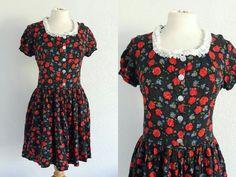 Vintage 90s Floral Rose Babydoll Dress - US 6 EU 38 UK 10