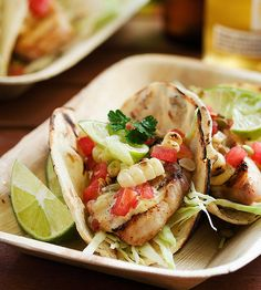 Grilled Fish Tacos with Roasted Corn and Pepitas. What a nice alternative to boring chicken.