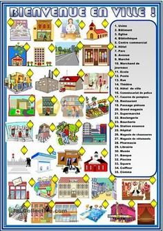 A collection of English ESL worksheets for home learning, online practice, distance learning and English classes to teach about city, places, city places French Teacher, Teaching French, French Adjectives, Learning People, French Worksheets, Core French, French Classroom, French Language Learning, French Lessons