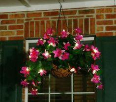 Bethlehem Lights 13 Indoor Outdoor Fuchsia Basket w/ LEDs & Timer