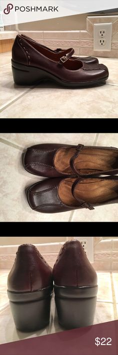 Naturalized Leather Wedges size 7.5 Cute, brown leather wedges/Mary Jane shoes. Back heal: 2.5 inches.  Used but in good condition.  Not rips/tears/stains. Naturalizer Shoes Wedges