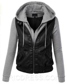 Ericdress Patchwork Zip-Front Long Sleeve Hoody Cool Hoodies