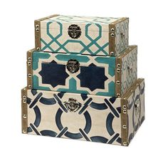 CC Home Furnishings Set of 3 Nautical Inspired Geometric Patterned Decorative Trunk Style Boxes, for amelia's dress up clothes?