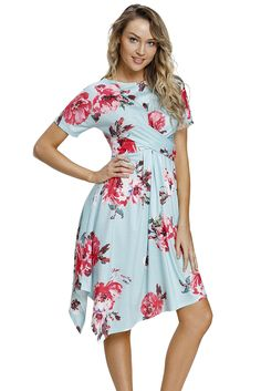 cad66e1d6c0 Cheap Light Mint Floral Print Twist Front Handkerchief Hem Dress only US   8.63