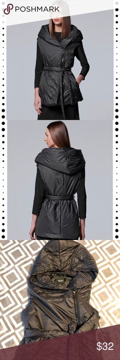 NWT Puffer jacket vest by Simply Vera Vera Wang Super cool puffer best by Simply Vera Vera Wang  Could fit sizes 0,2,XS,S or possibly bigger  PRODUCT FEATUREs 	•	Attached hood 	•	Cozy puffer design 	•	2-pocket 	•	Asymmetrical zip front 	•	Sleeveless 	•	Lined FIT & SIZING 	•	Front tie sash FABRIC & CARE 	•	Polyester 	•	Dry clean 	•	Imported Photos taken with and without flash  Let me know if you have any additional questions 😊 Bundle and save I'll make a private offer or feel free to make…