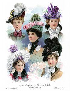 Victorian hat clipart, vintage fashion image, elegant hat illustration, free digital graphics, antique ladies hat