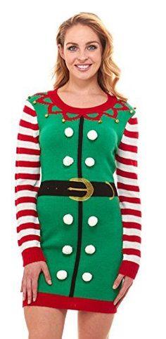 a1b1e25d0e Just One Women s Knit Ugly Christmas Sweater Dress Xmas F.