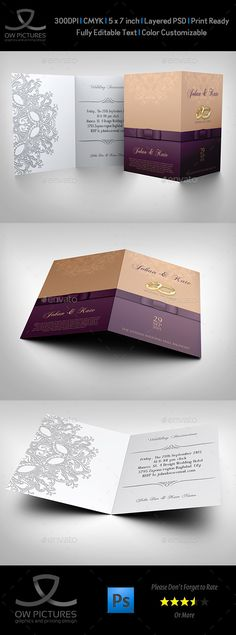 Wedding Invitation Card Template Vol.10 — Photoshop PSD #wedding card #organization • Available here → https://graphicriver.net/item/wedding-invitation-card-template-vol10/11249866?ref=pxcr