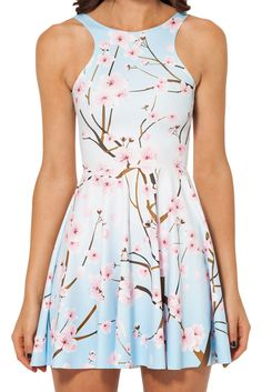 Cherry Blossom Blue Reversible Skater Dress – Black Milk Clothing