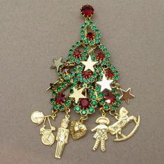Christmas Tree Pin Charms Toys Rhinestones Kirks Folly Brooch