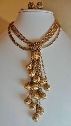 Vintage Monet Haute Couture Filigree Beaded Choker Necklace & Earrings Set