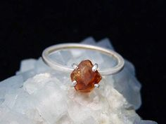 hessonite garnet ring orange raw crystal from Vermont, handmade recycled Argentium sterling silver, ecofriendly setting, natural eco jewelry by Beryllina
