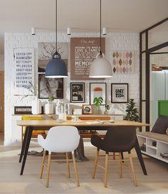 Skandináv lakberendezés, étkező és nappali dekoráció ötletek