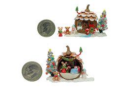 FAIRY HOUSE CHRISTMAS TREE MOUSE TEDDY BEAR DIORAM by WEE-OOAK-MINIATURES.deviantart.com on @DeviantArt