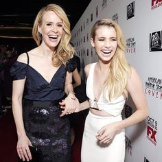Sarah Paulson and Emma Roberts held hands and laughed on the red carpet for the premiere screening of American Horror Story: Coven. Emma Roberts, American Horror Story Coven, Ahs Cast, Celebs, Celebrities, Girl Crushes, Horror Stories, Actors & Actresses, Beautiful People