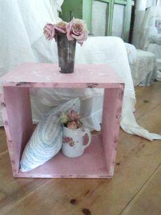 Vintage chippy painted pink wood