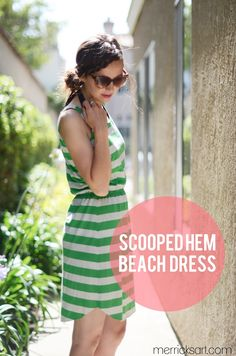 Merricks Art: SCOOPED HEM BEACH DRESS (TUTORIAL) Transform your old maxi dress into a new fun knee length summer dress.