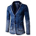 Men's Daily Work Winter Spring Fall Blazer,Color Block Long Sleeve Regular Cotton Acrylic Patchwork 2018 - $27.25