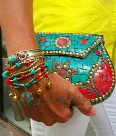 boho bag indian, turquoise and coral