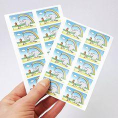 Aww regenbogenklexende Ottifanten auf Briefmarken  Gleich Geschäftspost #wandklex-angemessen frankieren! Ist das nicht zuckersüß?  #kunstatelier #meetthemaker #behindthescenes #atelier #artist #studio #material #post #versand #porto #briefmarken #stamps #ottifanten #stationary #stationaryaddict