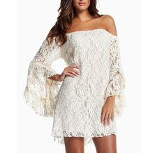Sexy Collar Sleeve Skirt Lace Dress