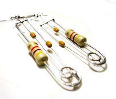 my latest creation! Mixed Resistor Earrings - Mustard Beige Swirl by clonehardware, 17.00
